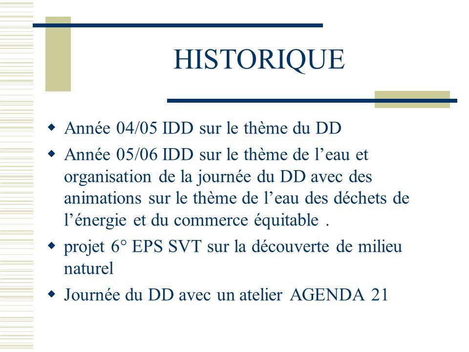 HISTORIQUE Année 04/05 IDD sur le thème du DD