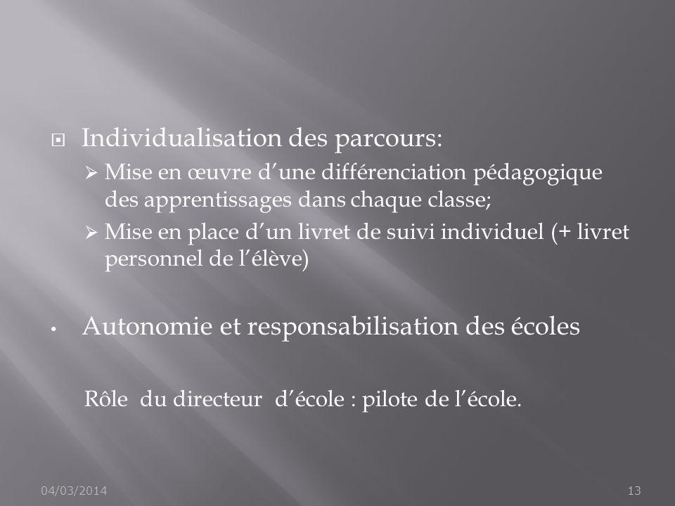 Individualisation des parcours: