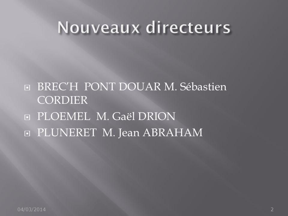 Nouveaux directeurs BREC'H PONT DOUAR M. Sébastien CORDIER
