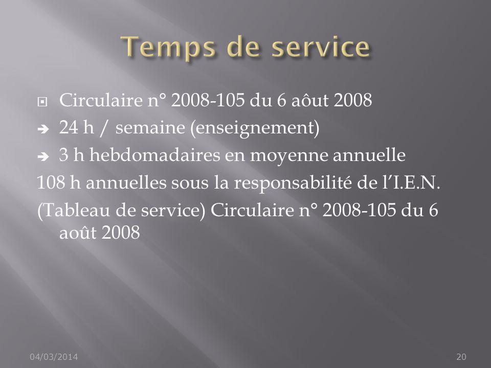 Temps de service Circulaire n° 2008-105 du 6 aôut 2008