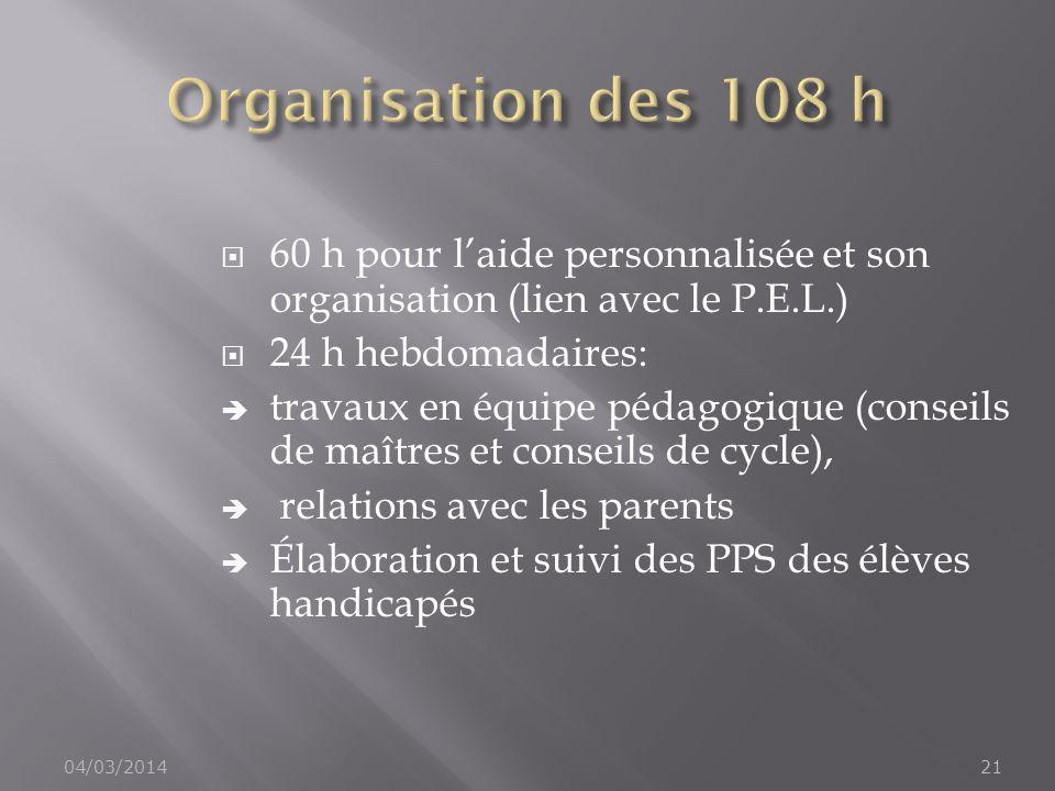 Organisation des 108 h 60 h pour l'aide personnalisée et son organisation (lien avec le P.E.L.) 24 h hebdomadaires: