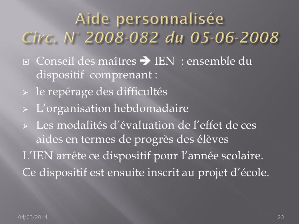 Aide personnalisée Circ. N° 2008-082 du 05-06-2008