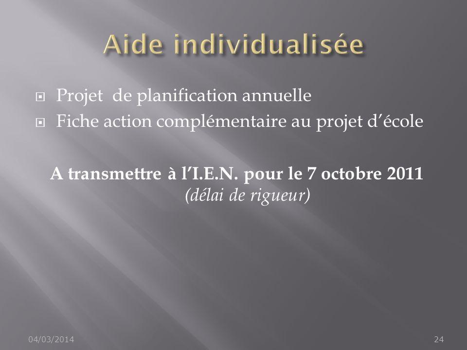 A transmettre à l'I.E.N. pour le 7 octobre 2011 (délai de rigueur)
