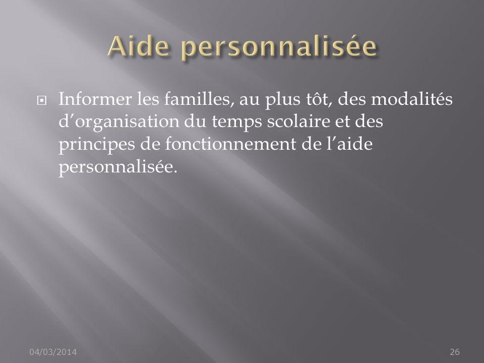 Aide personnalisée
