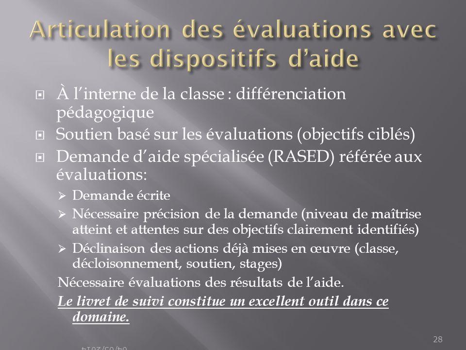 Articulation des évaluations avec les dispositifs d'aide