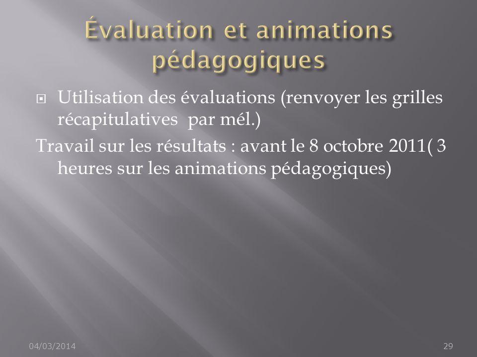 Évaluation et animations pédagogiques