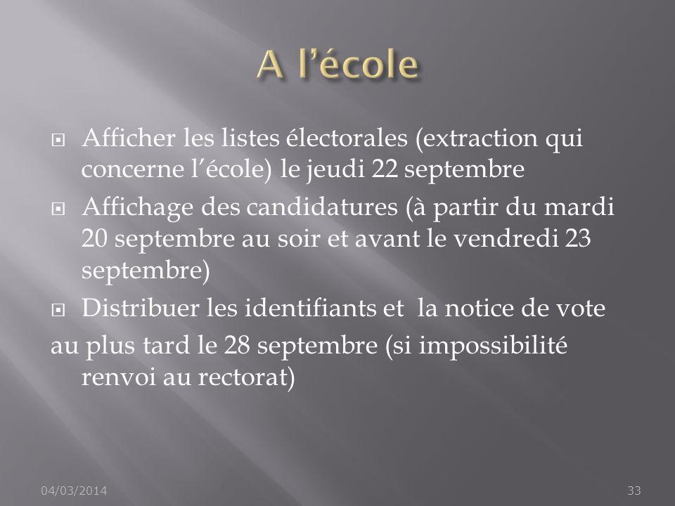 A l'écoleAfficher les listes électorales (extraction qui concerne l'école) le jeudi 22 septembre.