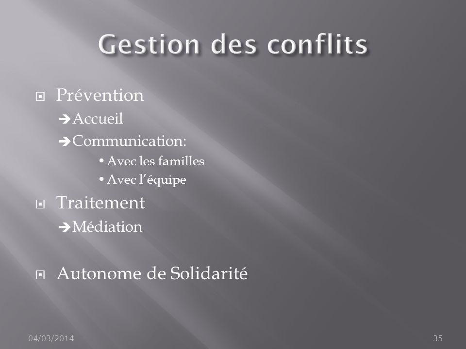 Gestion des conflits Prévention Traitement Autonome de Solidarité