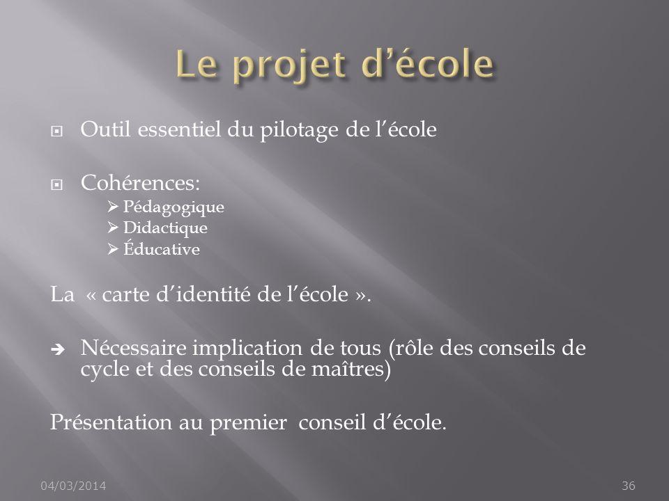 Le projet d'école Outil essentiel du pilotage de l'école Cohérences: