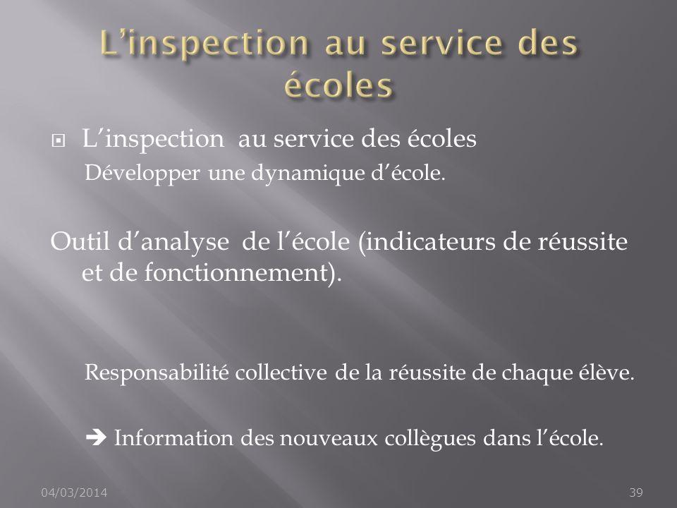 L'inspection au service des écoles