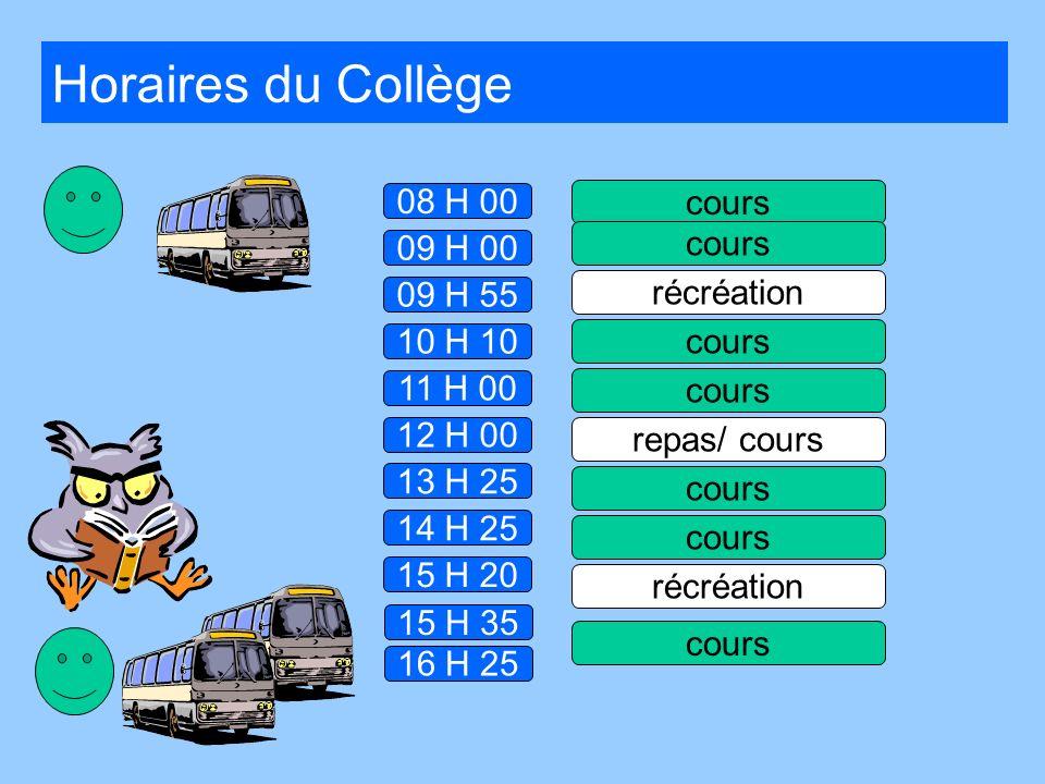 Horaires du Collège 08 H 00 cours cours 09 H 00 09 H 55 récréation