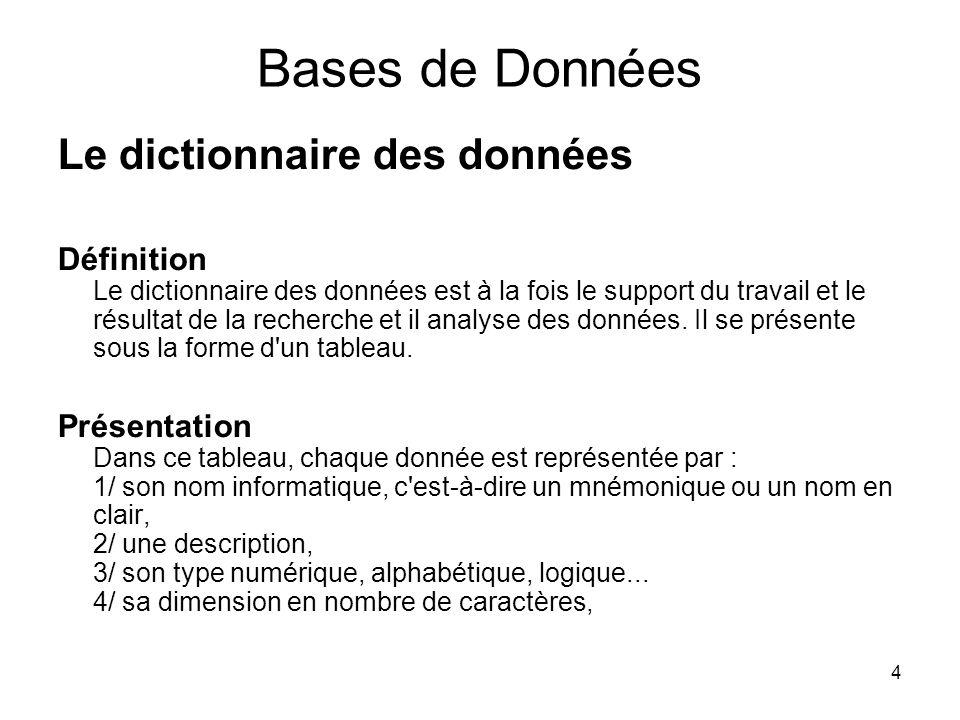 Bases de Données Le dictionnaire des données