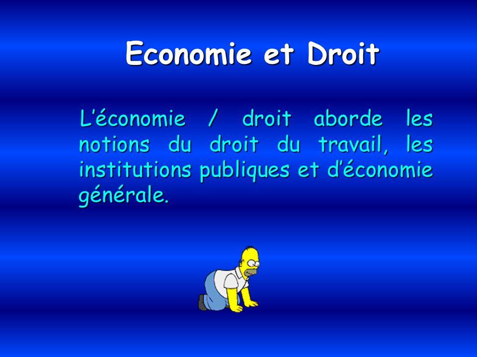 Economie et Droit L'économie / droit aborde les notions du droit du travail, les institutions publiques et d'économie générale.