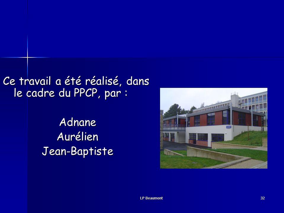 Ce travail a été réalisé, dans le cadre du PPCP, par :