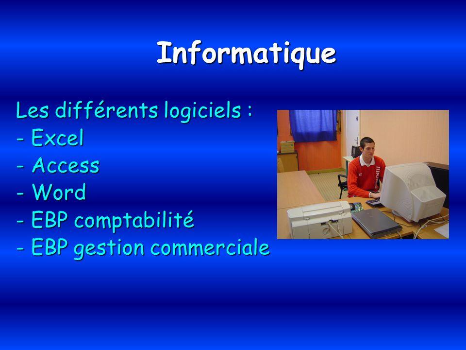 Informatique Les différents logiciels : - Excel - Access - Word