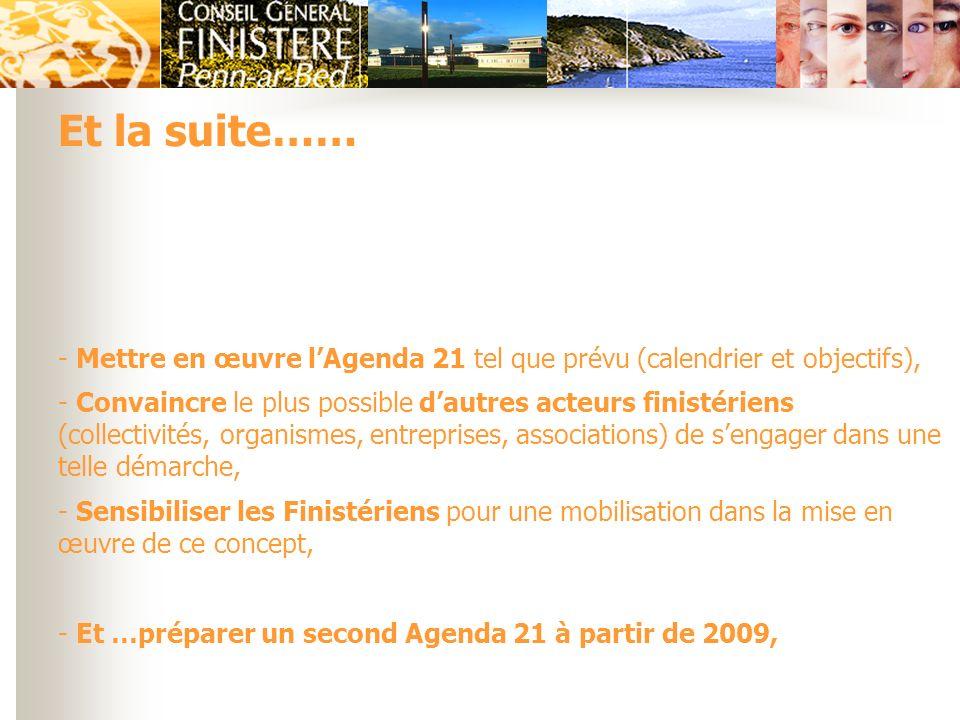 Et la suite…… Mettre en œuvre l'Agenda 21 tel que prévu (calendrier et objectifs),