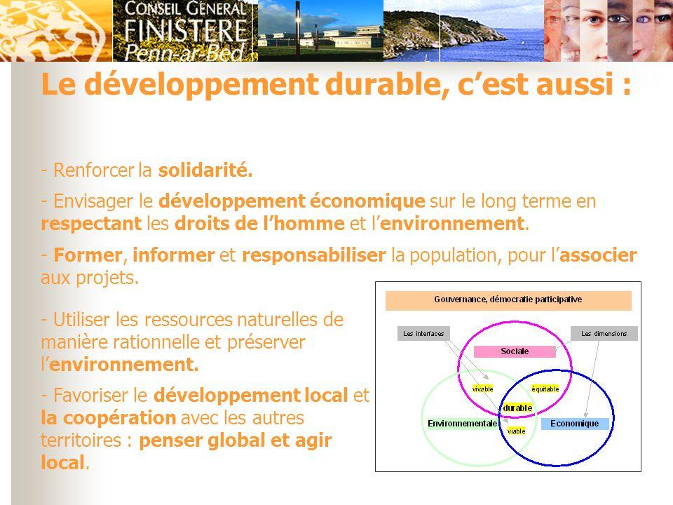 Le développement durable, c'est aussi :