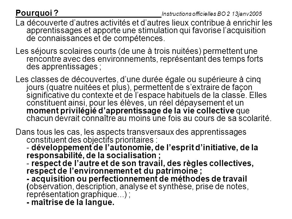 Pourquoi Instructions officielles BO 2 13janv2005