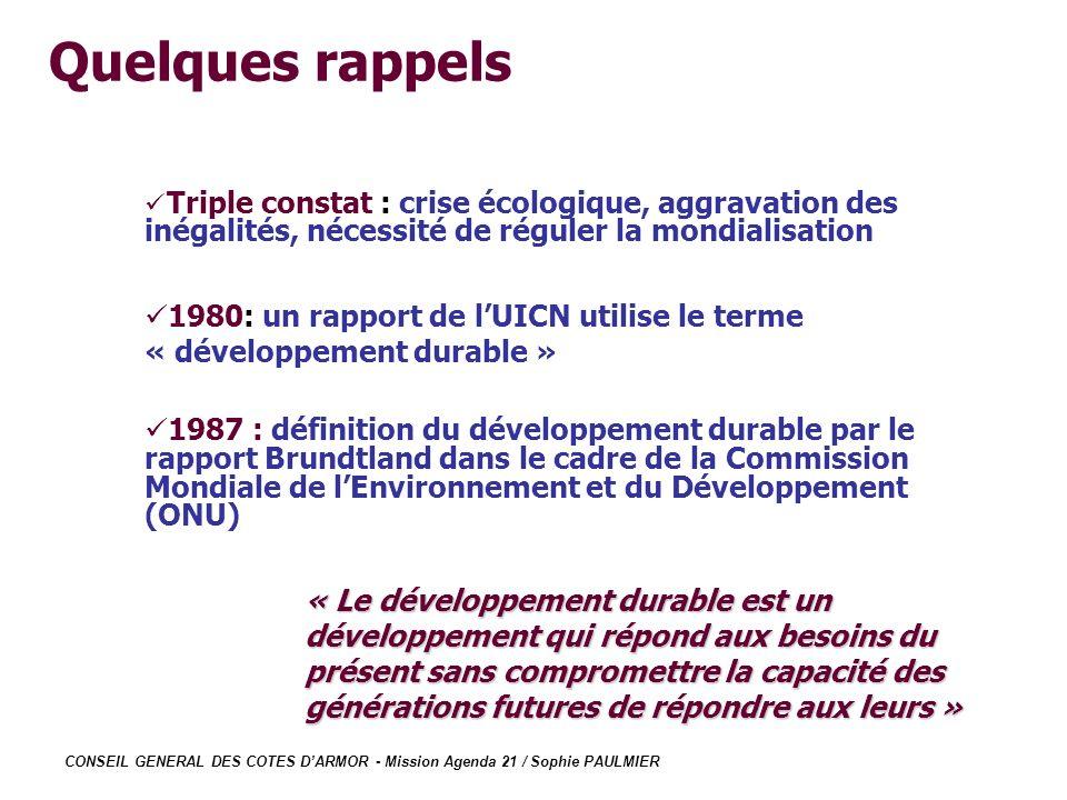 Quelques rappels Triple constat : crise écologique, aggravation des inégalités, nécessité de réguler la mondialisation.