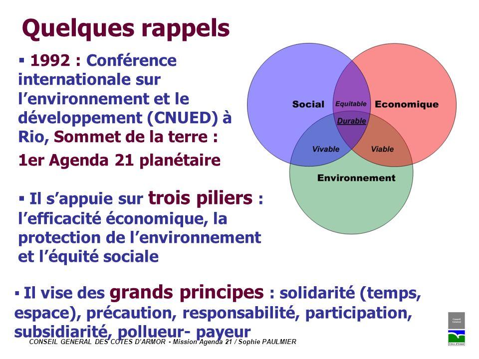 Quelques rappels 1992 : Conférence internationale sur l'environnement et le développement (CNUED) à Rio, Sommet de la terre :