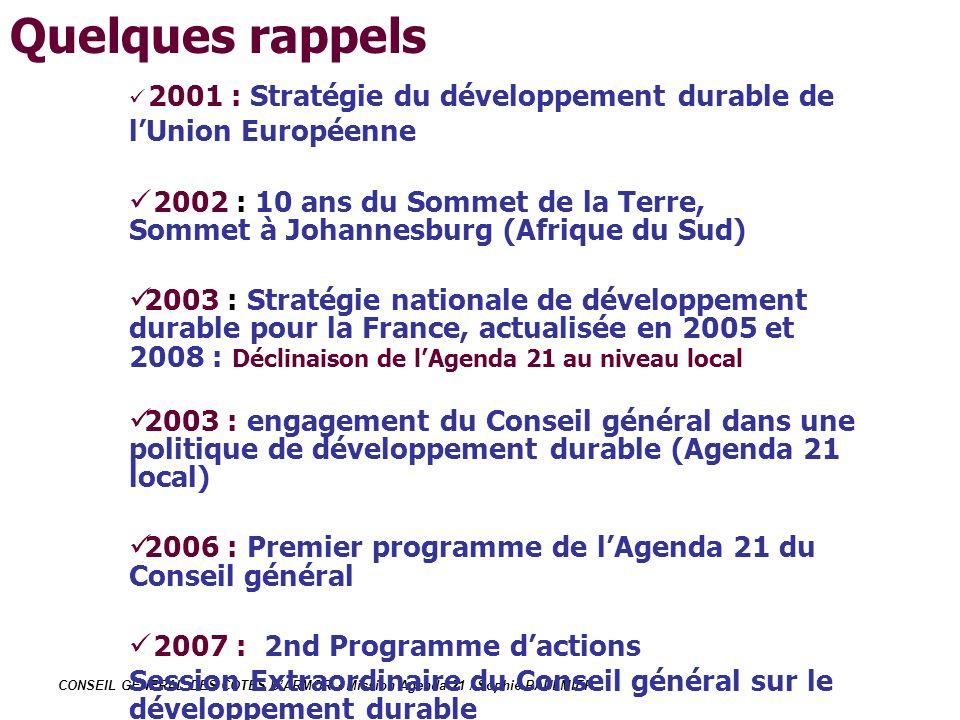 Quelques rappels 2001 : Stratégie du développement durable de l'Union Européenne.