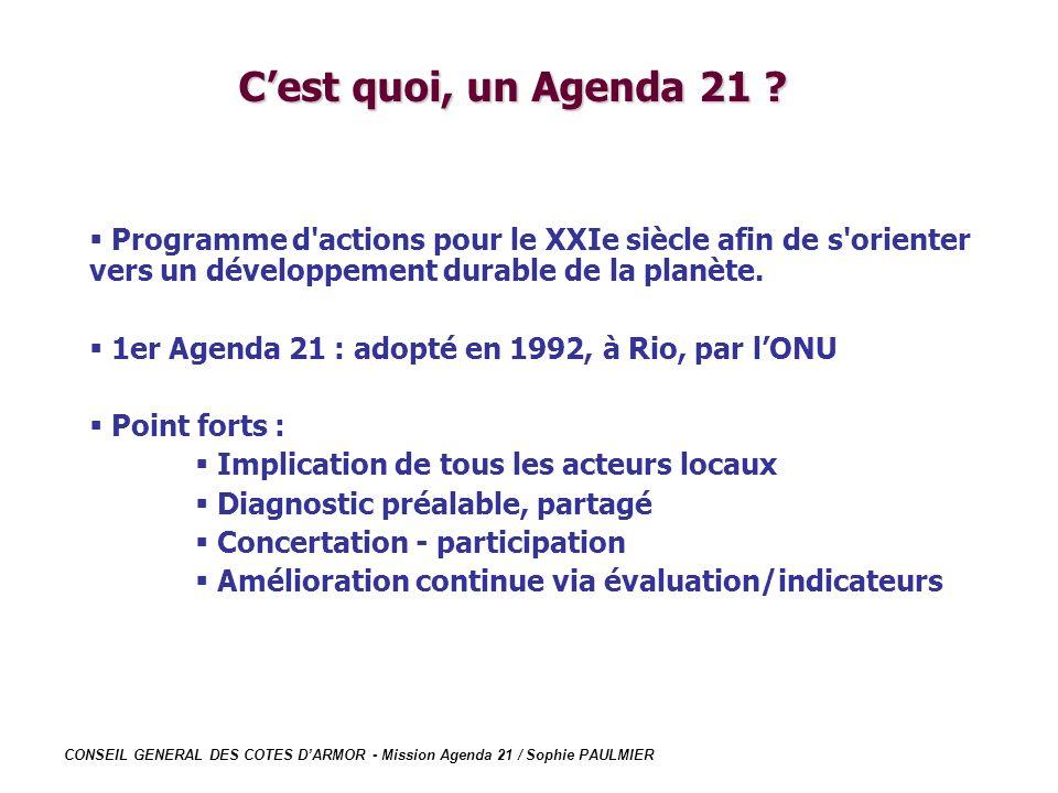 C'est quoi, un Agenda 21 Programme d actions pour le XXIe siècle afin de s orienter vers un développement durable de la planète.