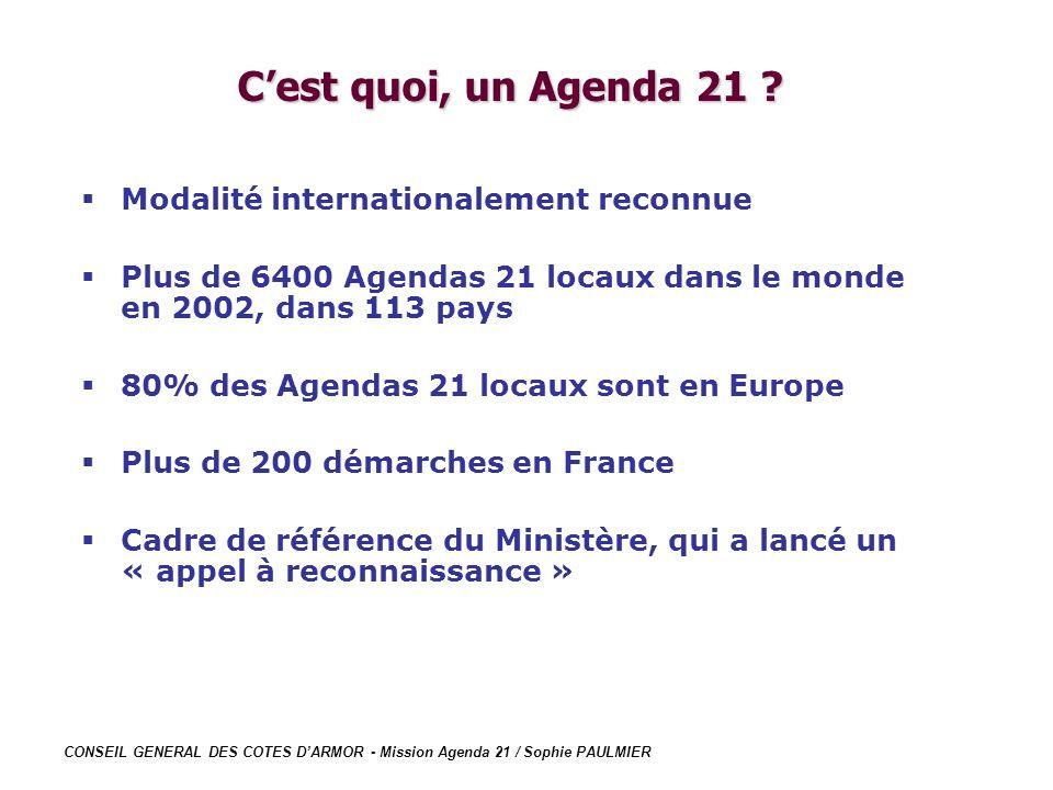 C'est quoi, un Agenda 21 Modalité internationalement reconnue