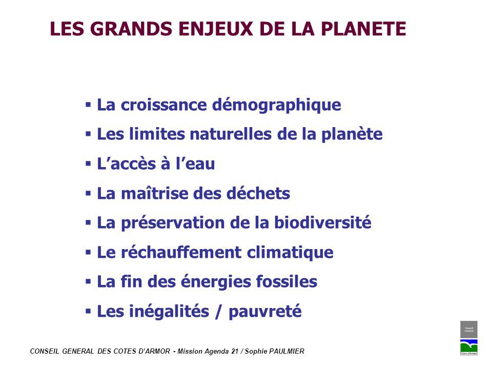 LES GRANDS ENJEUX DE LA PLANETE