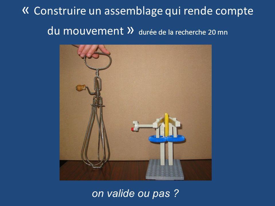 « Construire un assemblage qui rende compte du mouvement » durée de la recherche 20 mn