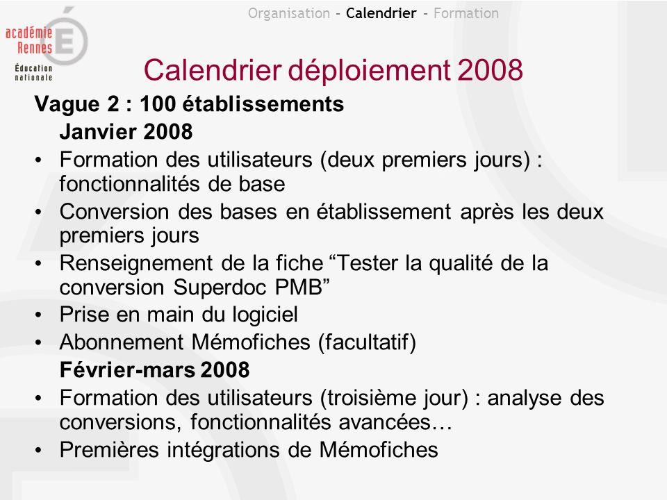 Calendrier déploiement 2008