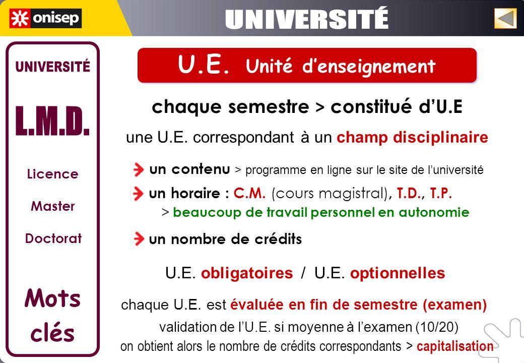 U.E. Unité d'enseignement chaque semestre > constitué d'U.E
