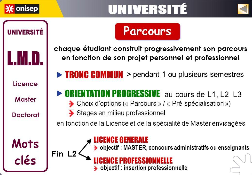 UNIVERSITÉ Parcours UNIVERSITÉ L.M.D. Mots clés TRONC COMMUN