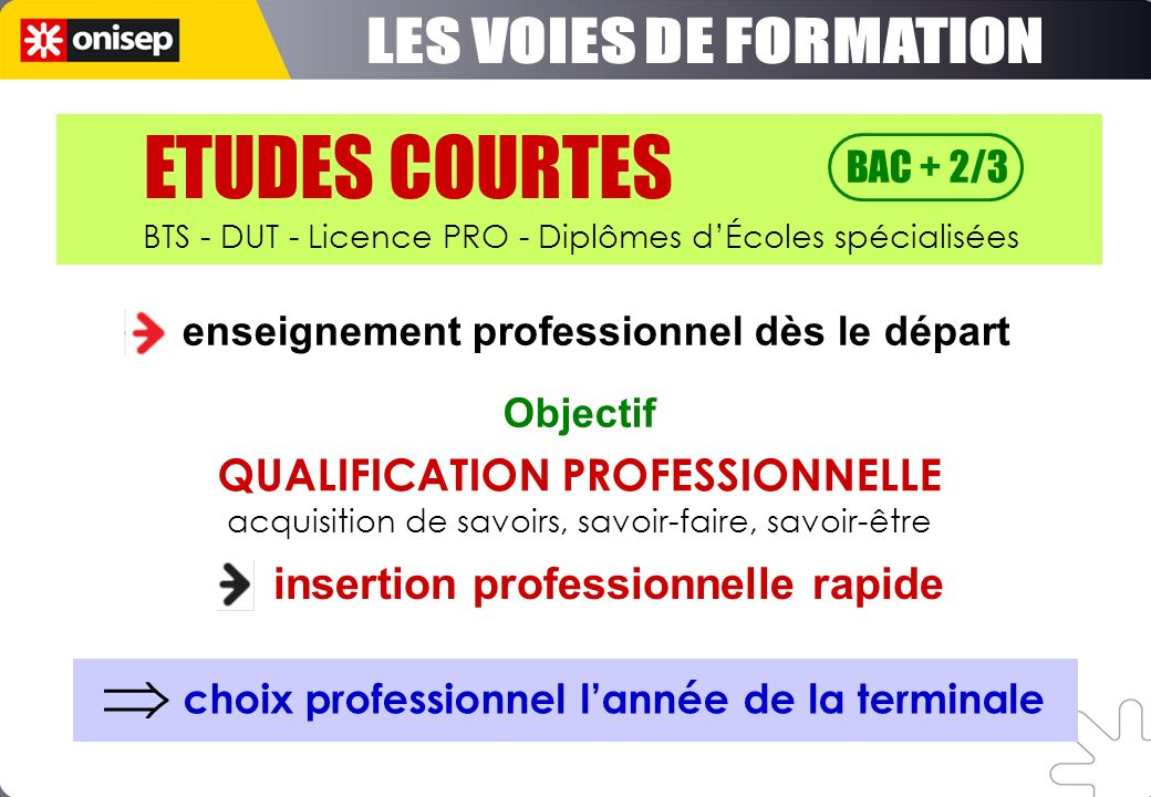 ETUDES COURTES LES VOIES DE FORMATION