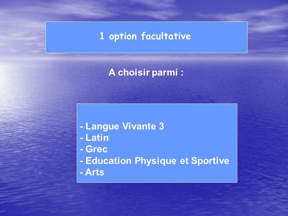 1 option facultative A choisir parmi : - Langue Vivante 3. - Latin. - Grec. - Education Physique et Sportive.