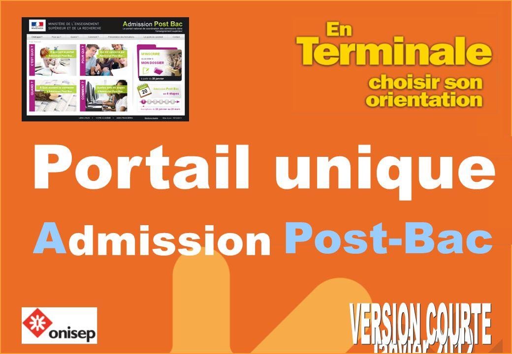 Portail unique dmission A Post-Bac VERSION COURTE Janvier 2012