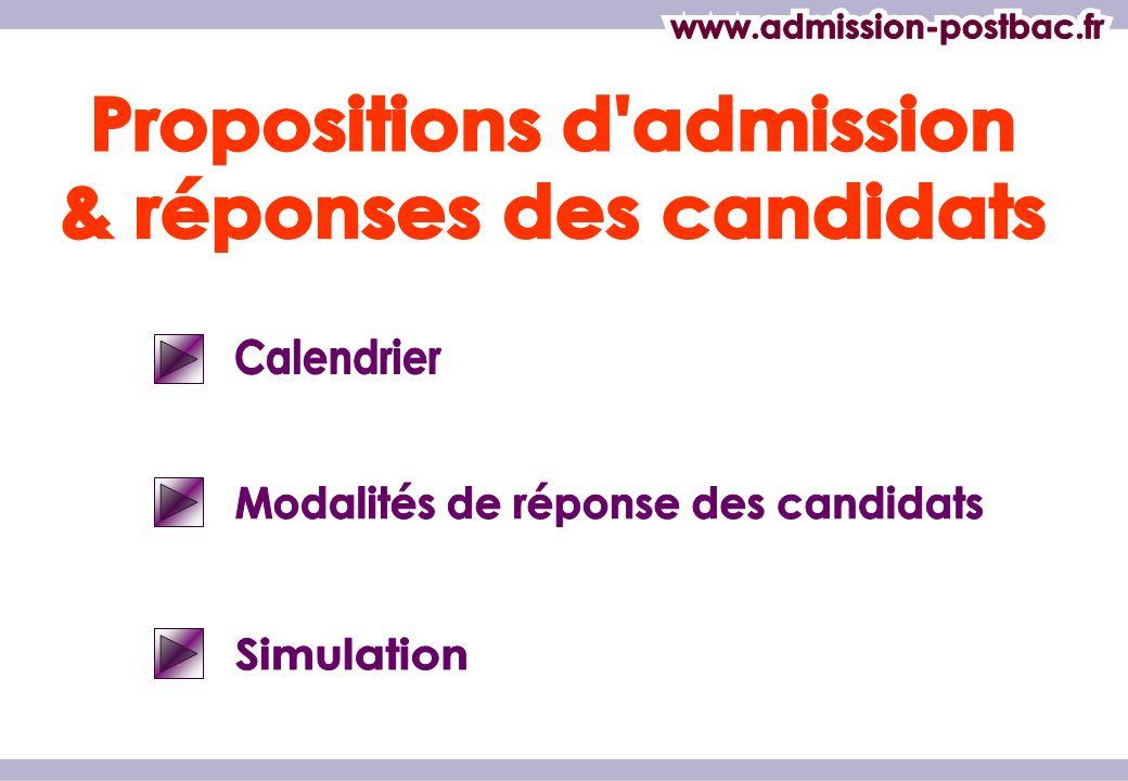Propositions d admission & réponses des candidats
