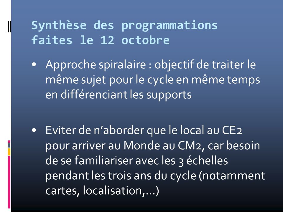 Synthèse des programmations faites le 12 octobre