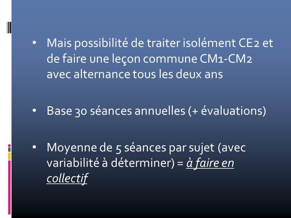 Mais possibilité de traiter isolément CE2 et de faire une leçon commune CM1-CM2 avec alternance tous les deux ans