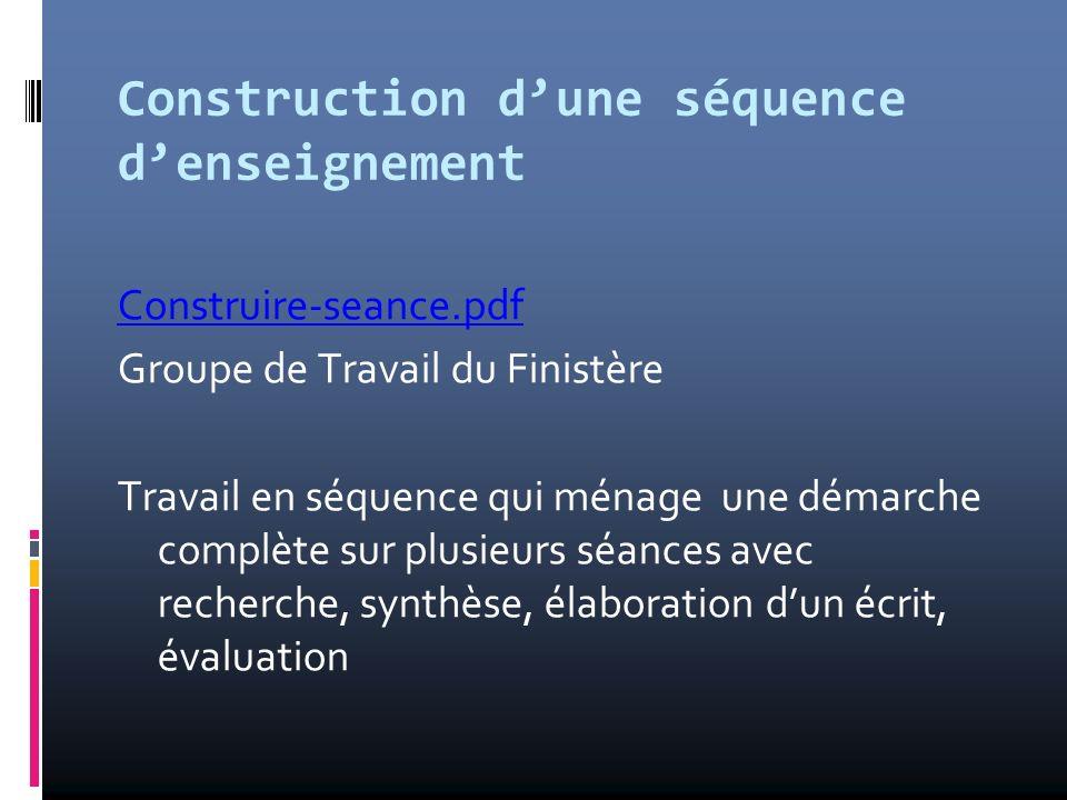 Construction d'une séquence d'enseignement