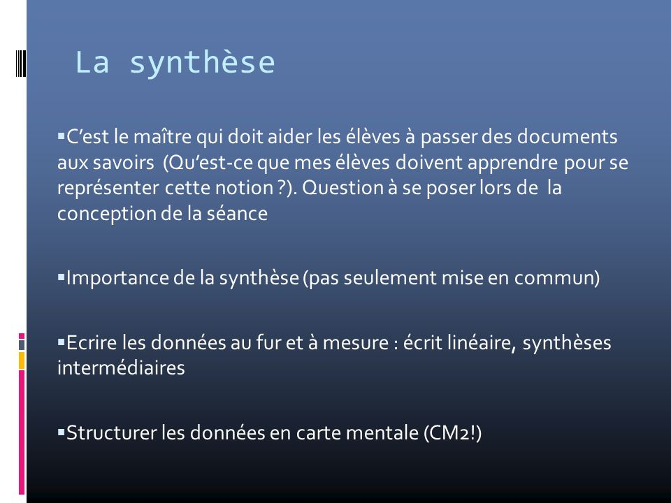 La synthèse