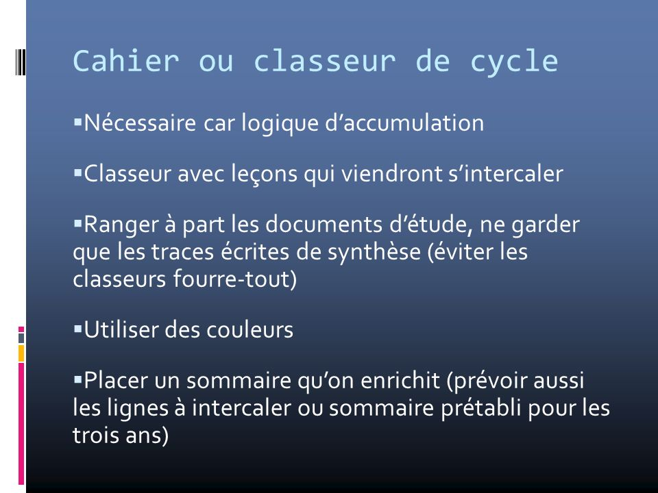 Cahier ou classeur de cycle