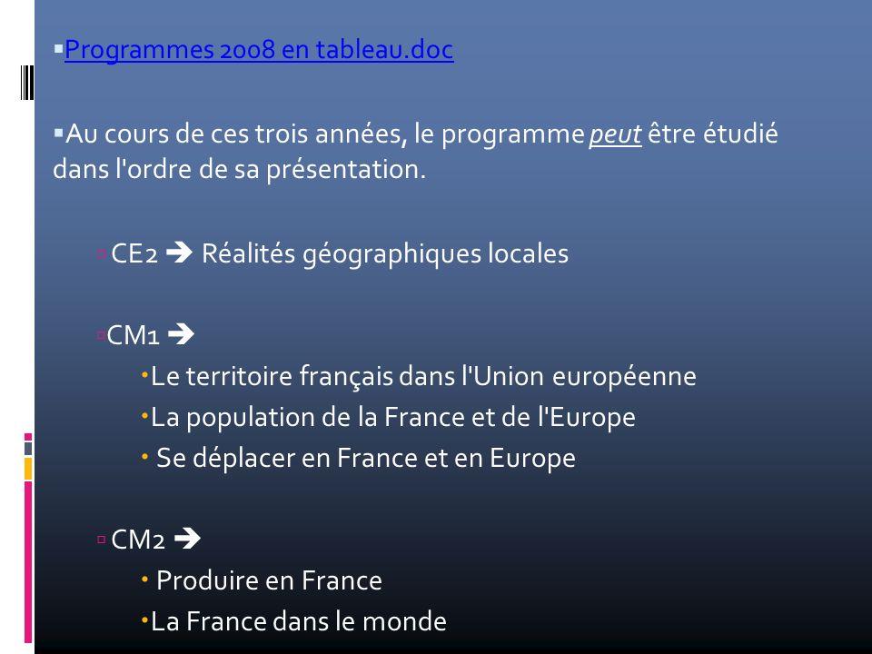 CE2  Réalités géographiques locales CM1 