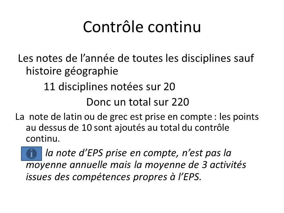 Contrôle continu Les notes de l'année de toutes les disciplines sauf histoire géographie. 11 disciplines notées sur 20.