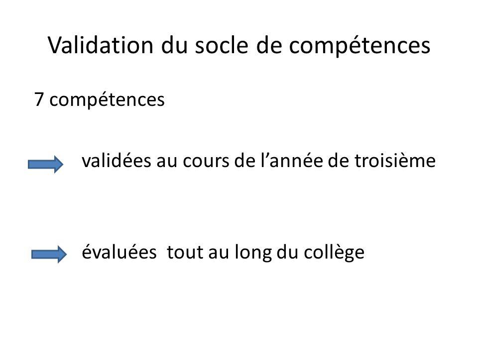 Validation du socle de compétences