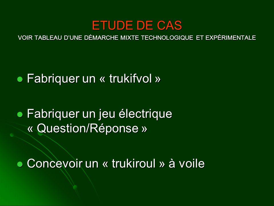 VOIR TABLEAU D'UNE DÉMARCHE MIXTE TECHNOLOGIQUE ET EXPÉRIMENTALE