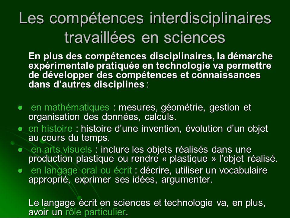 Les compétences interdisciplinaires travaillées en sciences