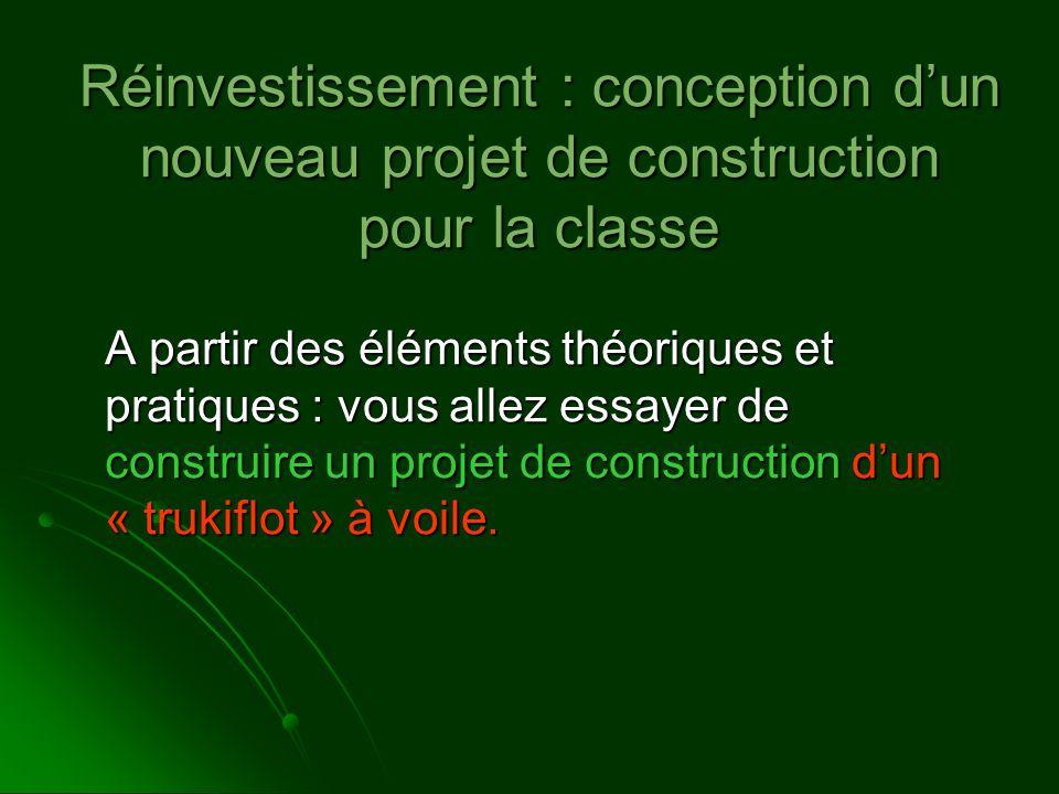 Réinvestissement : conception d'un nouveau projet de construction pour la classe