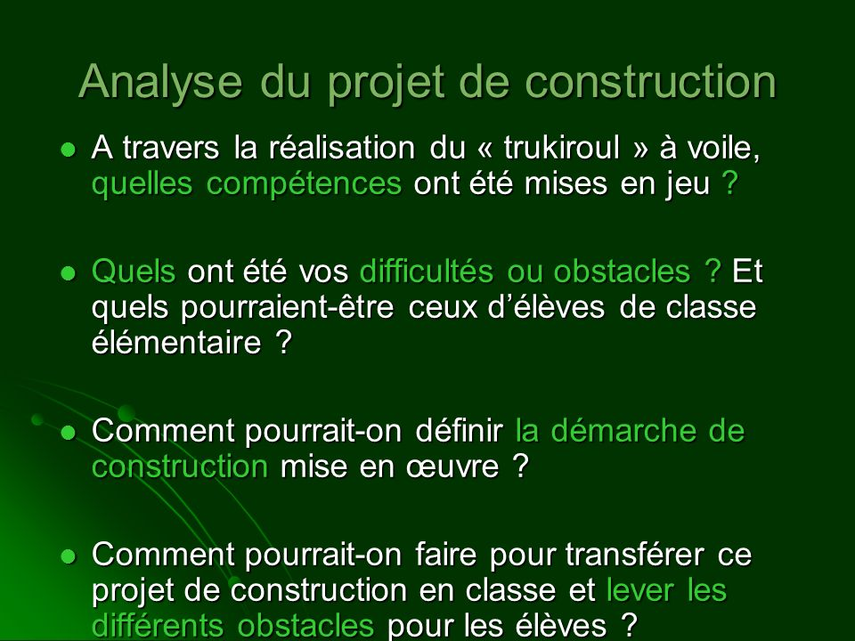Analyse du projet de construction