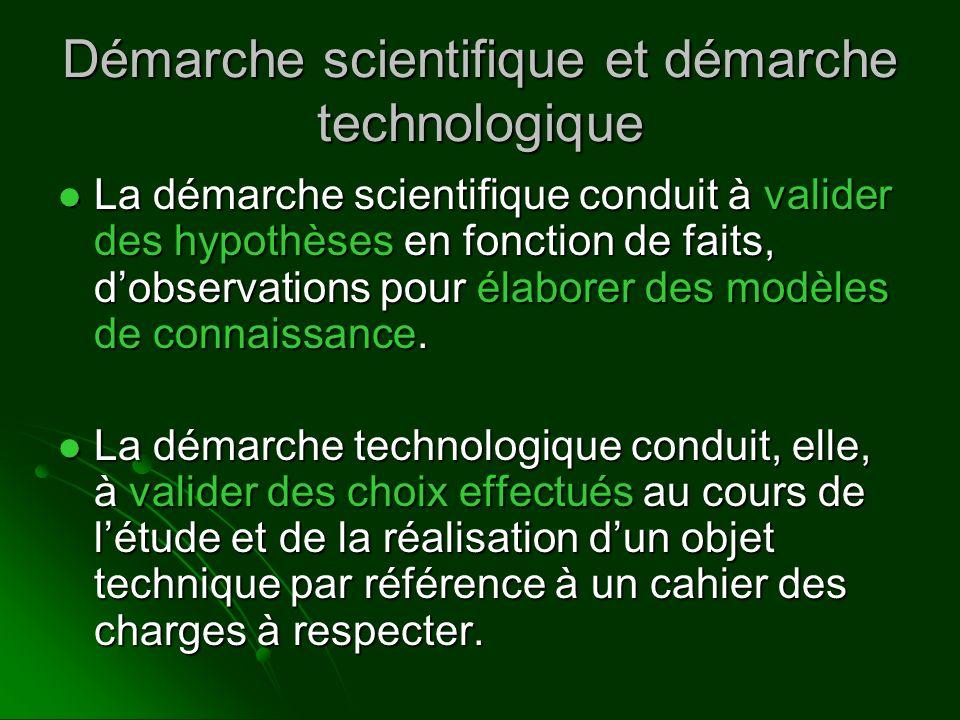 Démarche scientifique et démarche technologique