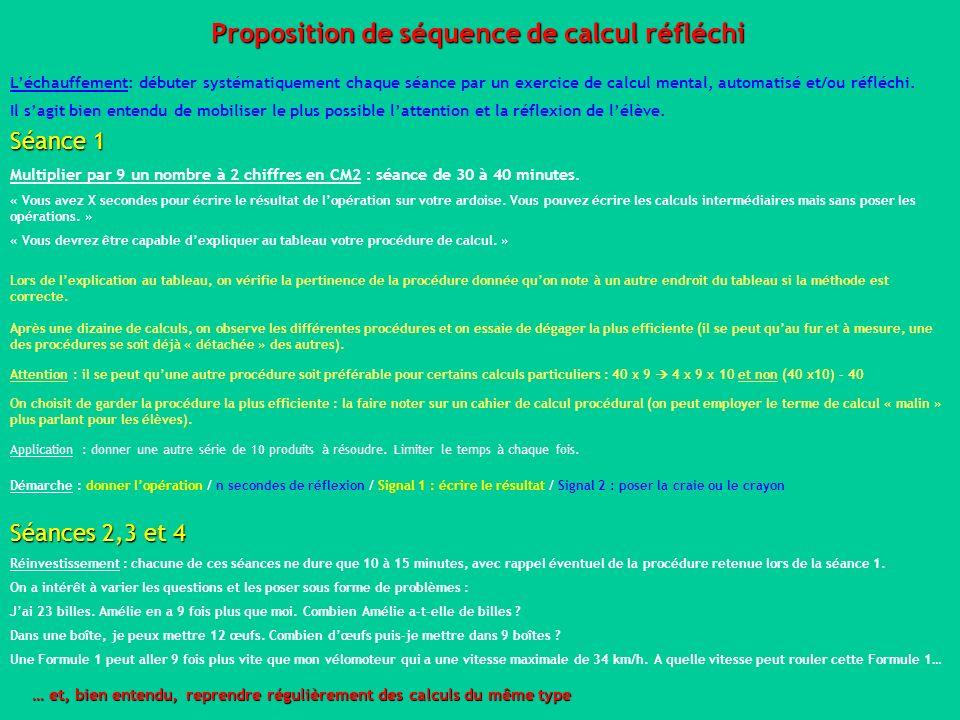 Proposition de séquence de calcul réfléchi
